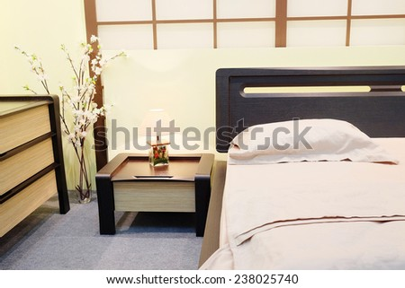 close-up of a bedroom in the Japanese style - stock photo