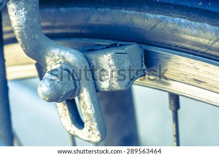 Close-up of a bicycle brake pad - stock photo
