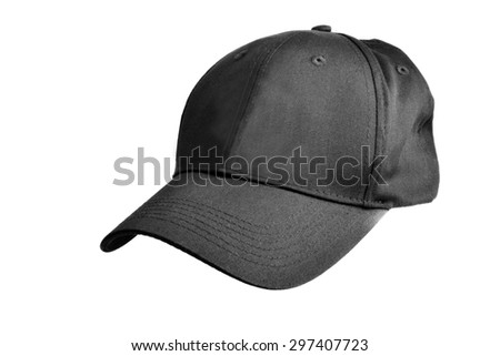 Close up of a black baseball cap on a white background