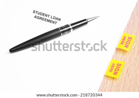 Close Up Of A Black Pen And Student Loan Agreement With Sign Here Stickers  - stock photo