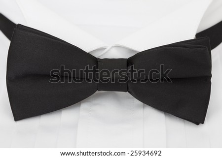 close up of a black tie and shirt collar - stock photo