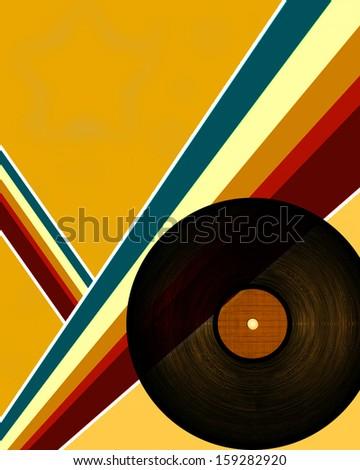 close up of a black vinyl record - stock photo
