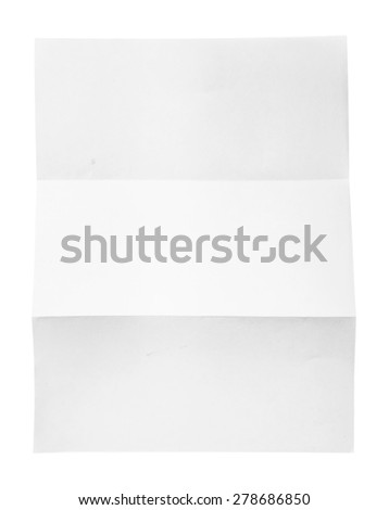 close up of a blank folded leaflet white paper on white background  - stock photo