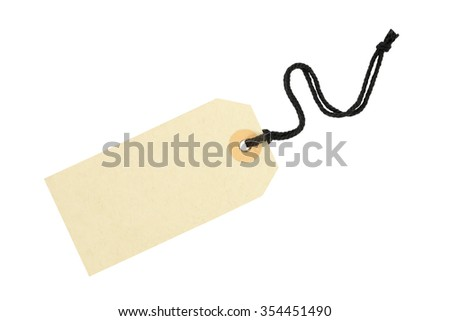 close up of a blank price label on white background