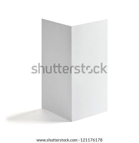 close up of a blank white paper template on white background - stock photo