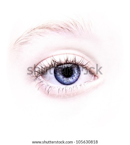 Close up of a blue eye, natural no make-up - stock photo