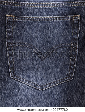 Close-up of a blue jeans back pocket - stock photo
