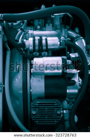 Close up of a boat  engine, shallow DOF, artistic toned photo