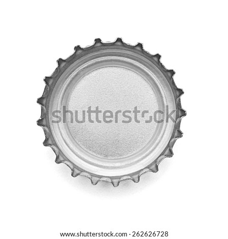 close up of  a bottle cap on white background, soft focus