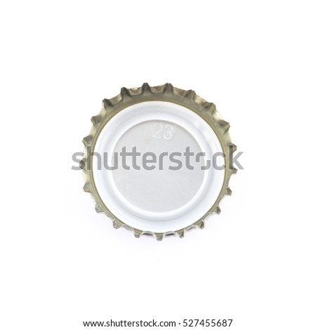 close up of a bottle cap on white background with copy space