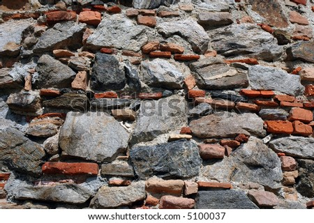 close-up of a brick and stone wall, perfect for backgrounds