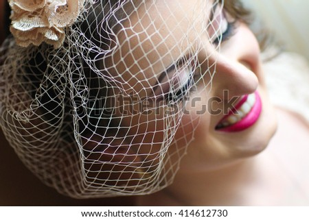 close up of a bride with veil and make up - stock photo