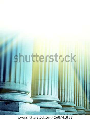 Close-up of a bright classical pillar
