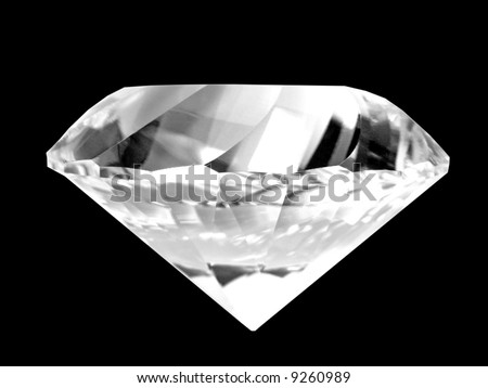 Close-up of a brilliant white diamond (isolated on pure black background) - stock photo