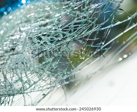Close up of a broken windshield.  - stock photo