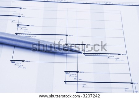 Close up of a business project plan
