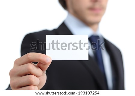 Close up of a businessman hand holding a business card isolated on a white background - stock photo