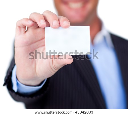 Close-up of a businessman holding a white card isolated on a white background - stock photo