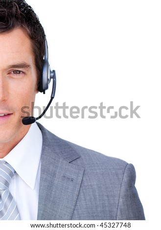 Close-up of a businessman using headset against a white background - stock photo