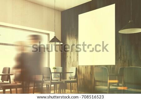 Close Cafe Interior White Wooden Walls Stock Illustration 708516523 ...