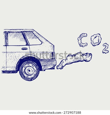 Close up of a car's fumes emissions in the traffic jam. Doodle style. Raster version - stock photo