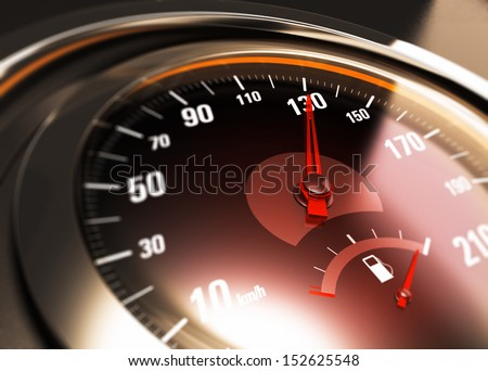 Close up of a car speedometer with the needle pointing 130 Km h, blur effect, conceptual image for speed limit. - stock photo