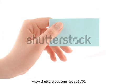 Close-up of a card in woman hand isolated on white