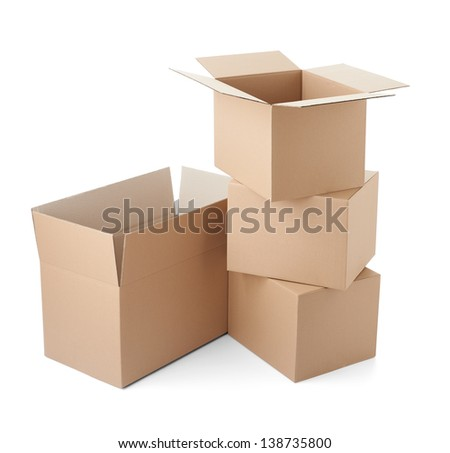 close up of a cardboard box on white background - stock photo