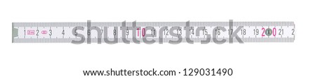 Close up of a carpentry ruler on white background - stock photo