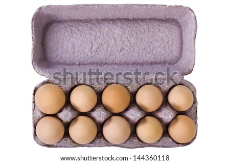 Close-up of a carton of eggs - stock photo