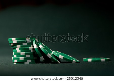 Close-up  of a casino pile of gambling chips. Narrow focus - stock photo