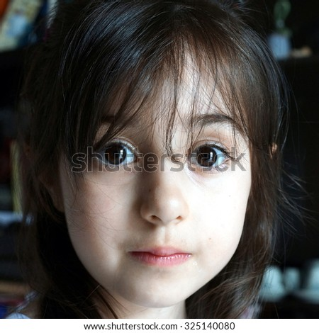 Close up of a caucasian little girl  - stock photo