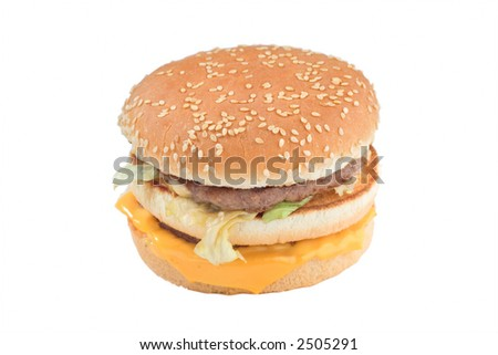 Close up of a cheeseburger isolated against white background
