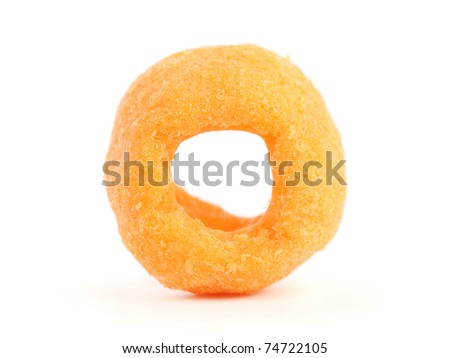 Close up of a cheesy ring isolated on white background.