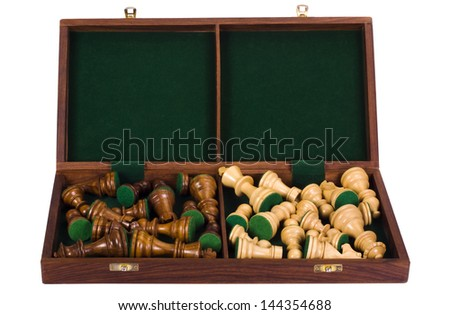 Close-up of a chessboard with chess pieces - stock photo