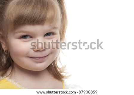 close up of a child smiling, there is room for text