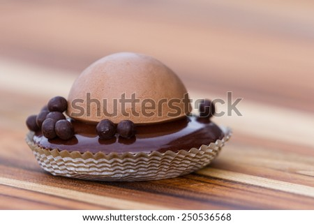 close up of a chocolate dessert with different layers and textures - stock photo