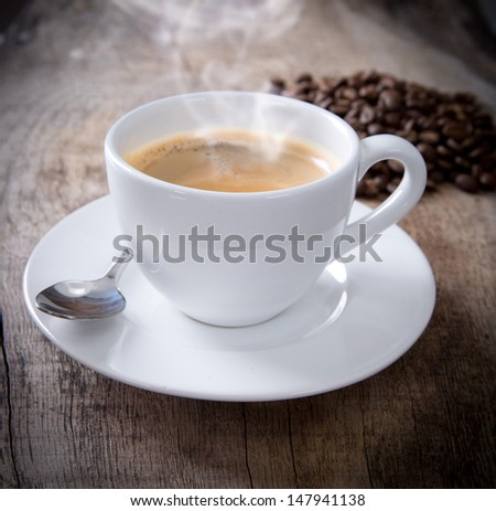 Close-up of a coffee cup - stock photo