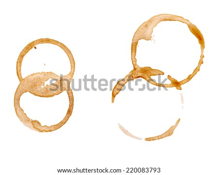 close up of  a coffee stain on white background