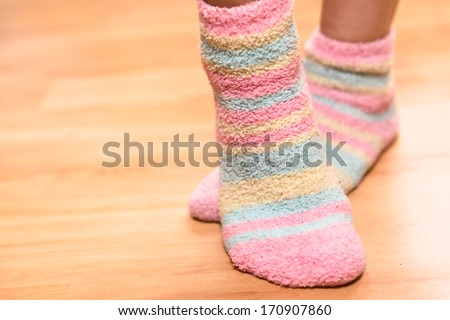 Close up of a colorful soft socks. - stock photo