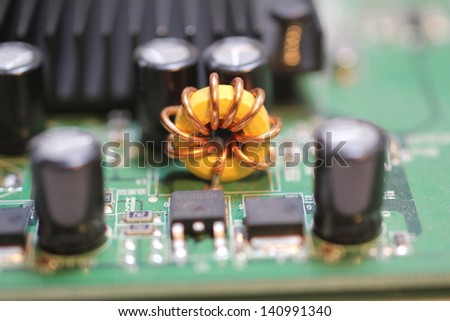 close up of a computer circuit board - stock photo