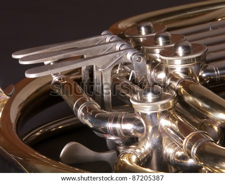 Close up of a concert french horn.