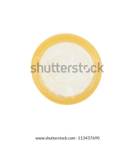 Close up of a condom on a white background - stock photo