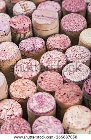 Close up of a cork wine. Focus in the center of the frame. Very shallow depth of field - stock photo