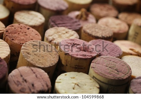 Close up of a cork wine with different variation of wine color - stock photo