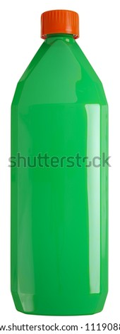 Close up of a cosmetics bottle (plastic) isolated on white , 2 images stitched,