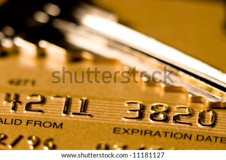 Close up of a credit or debit card for security background - stock photo