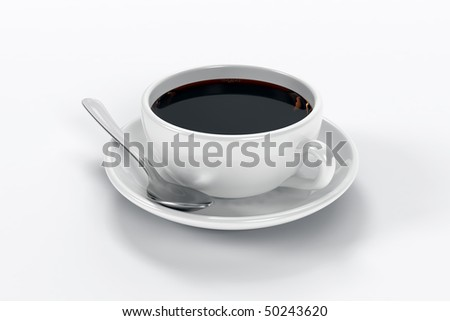 Close up of a cup of coffee including a spoon