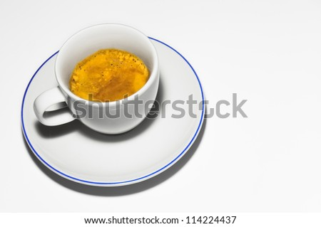 Close up of a cup of coffee on a white background