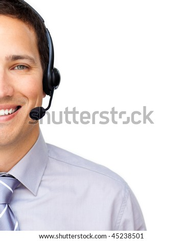Close-up of a customer service agent with headset on against a white background - stock photo